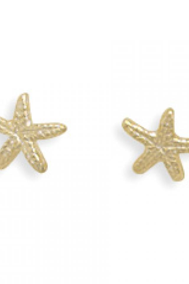 Gold Starfish Stud Earrings Large Photo