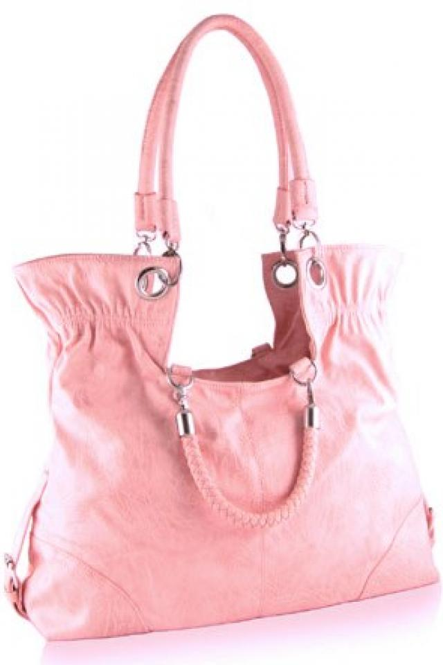 Pink Fold Down Tote Purse Free Ship Photo