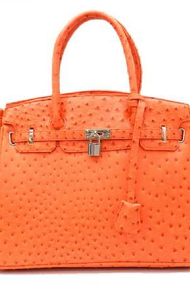 Tangerine Ostrich Embossed Tote Purse Free Ship Photo