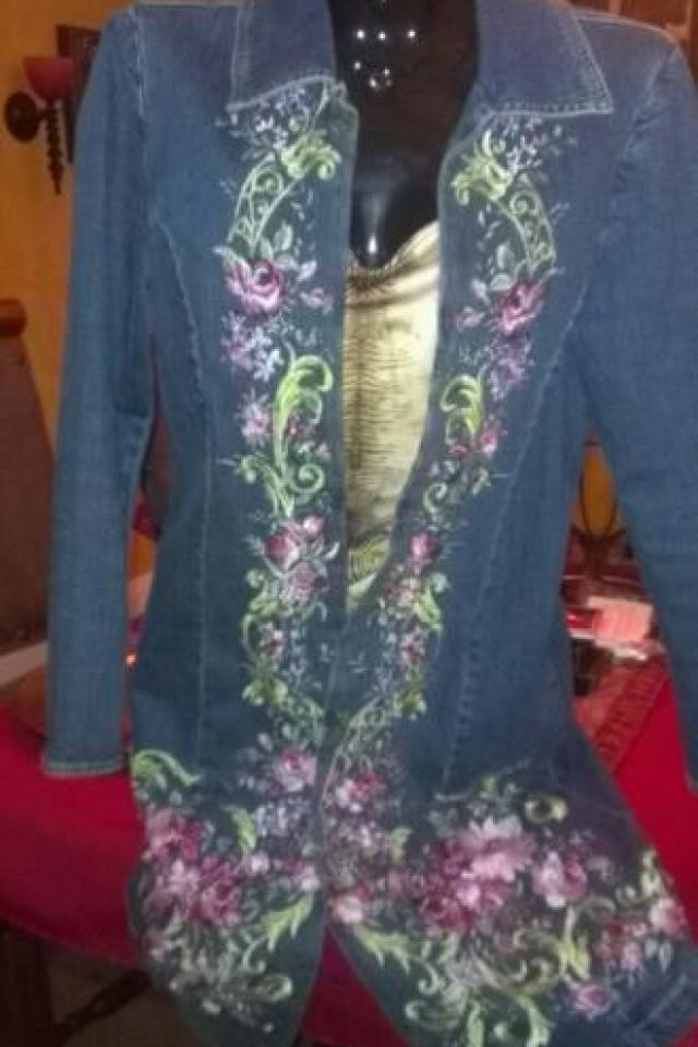 ~ GEORGEOUS EMBROIDERED DENIM TRENCH JACKET ~  Large Photo