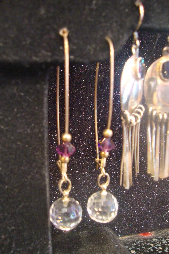 REAL STERLING SILVER EARRINGS w/ CRYSTAL Photo