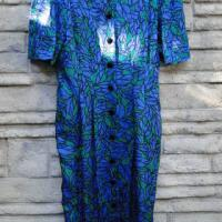 Blue/Green Leaf Print Dress Photo