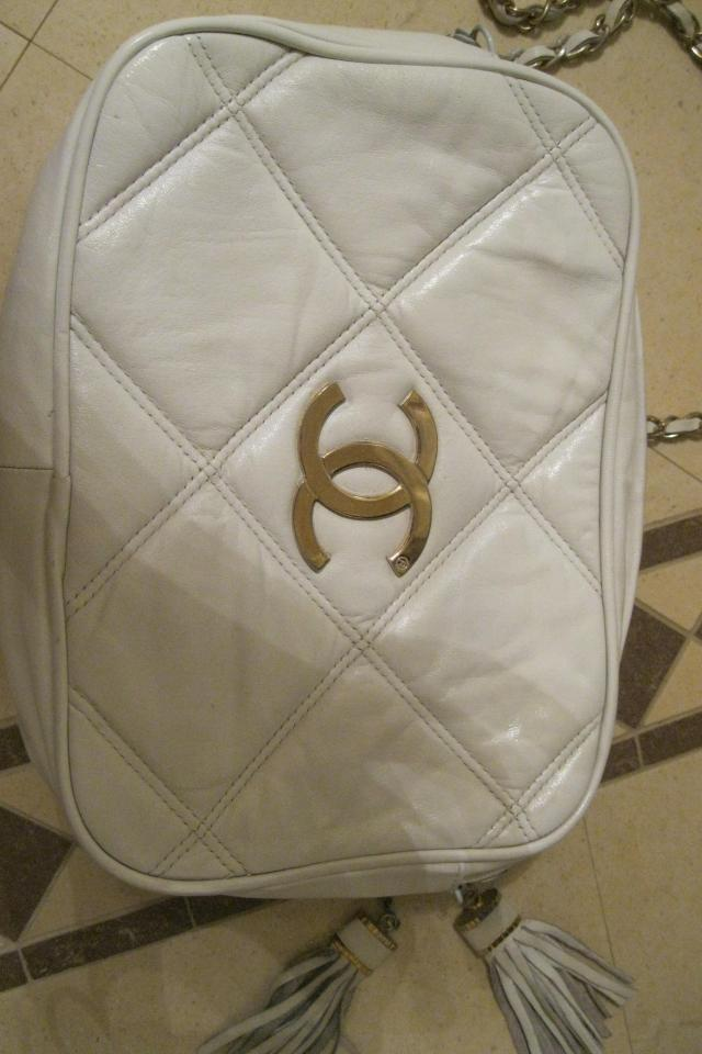 Chanel vintage 80's Beige Leather Bag w/gold CC  Photo