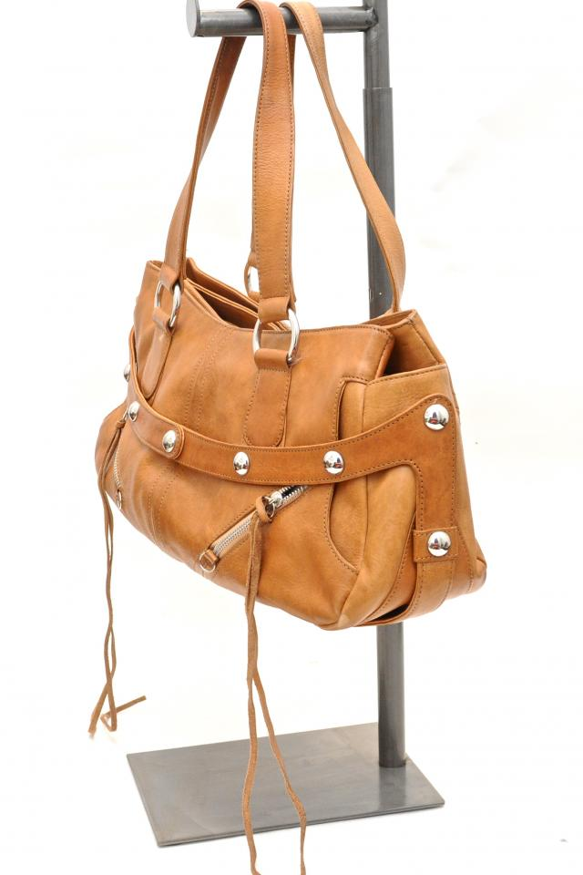 Botkier Cognac Leather & Studded Satchel Photo