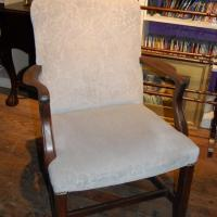 High back mahogany and embossed fabric chair Photo