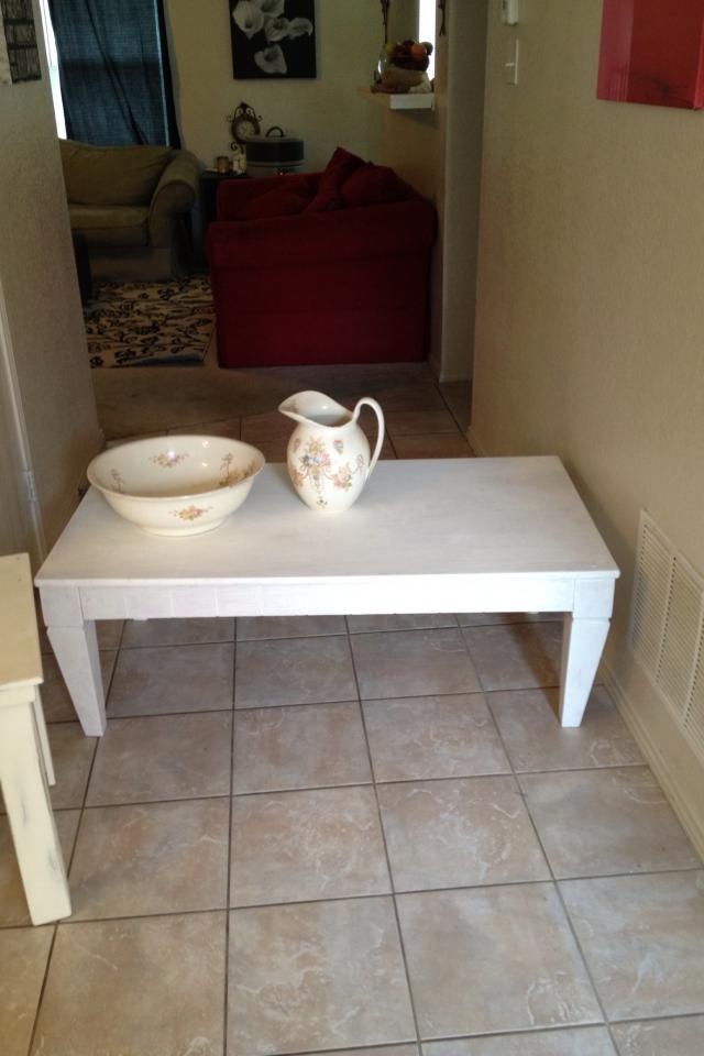 SOLID wood white coffee table Large Photo