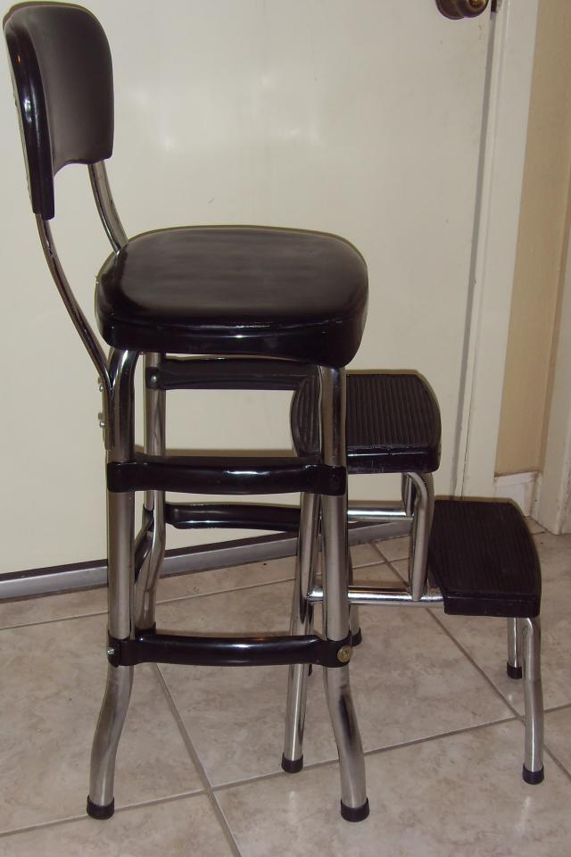 Cosco Black Retro Counter chair/step Stool  Large Photo