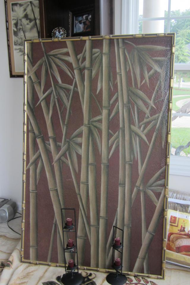 Bamboo Painting on canvas Large Photo