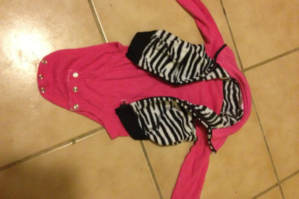 Cute pink onsie with zebra vest Large Photo