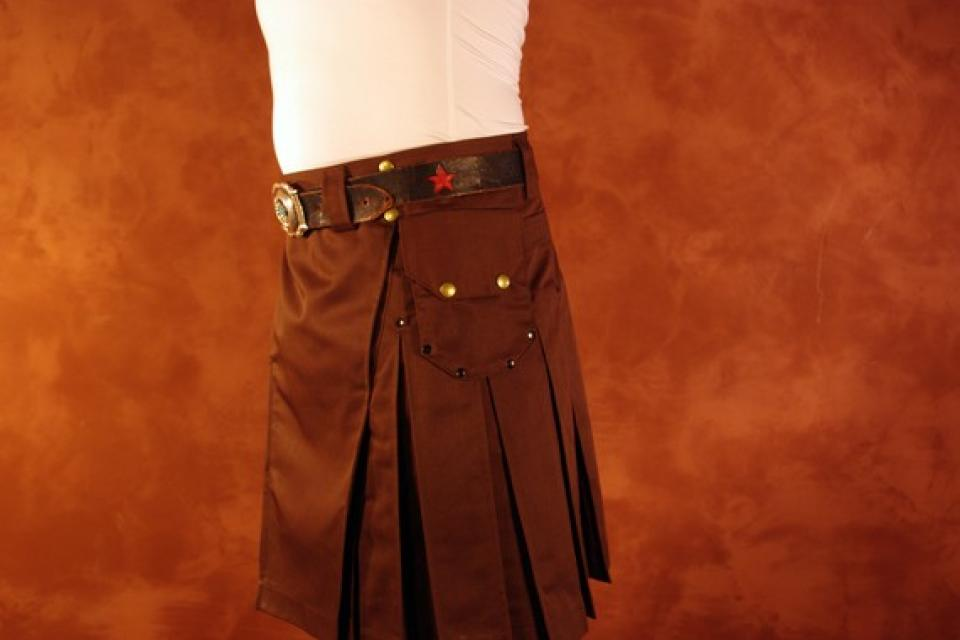 Dark Brown Kilt with Brass Antique Rivets Large Photo