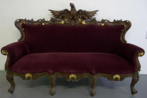 Antique Handcarved Sofa w/ Eagle Statue  Photo
