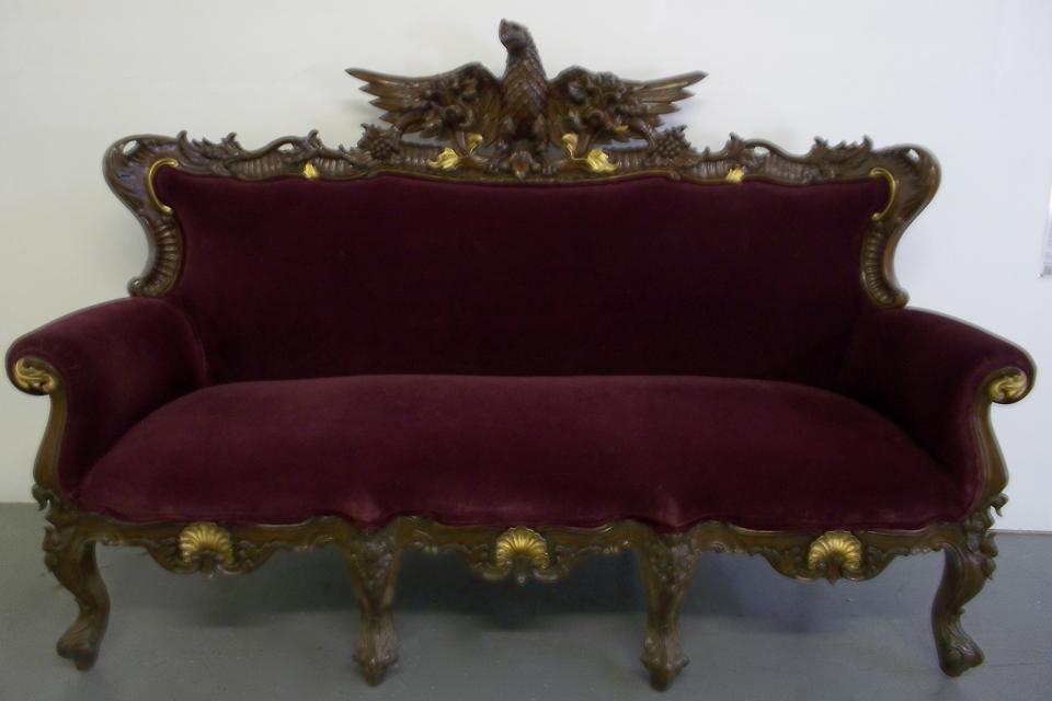 Antique Handcarved Sofa w/ Eagle Statue  Large Photo