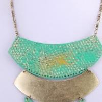 Blue/ Green and Gold Crescent Layered Fashion Necklace & Earring Set Photo