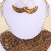Leopard Crescent Gold Fashion Necklace & Earring Set Photo
