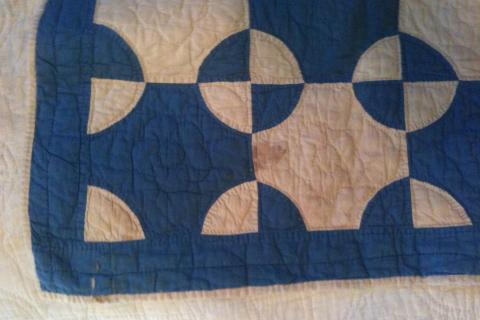 Late 1800s Indigo Blue & Muslin Antique Quilt 68 x 76 Photo