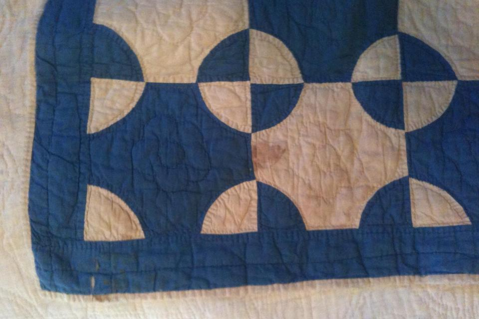 Late 1800s Indigo Blue & Muslin Antique Quilt 68 x 76 Large Photo