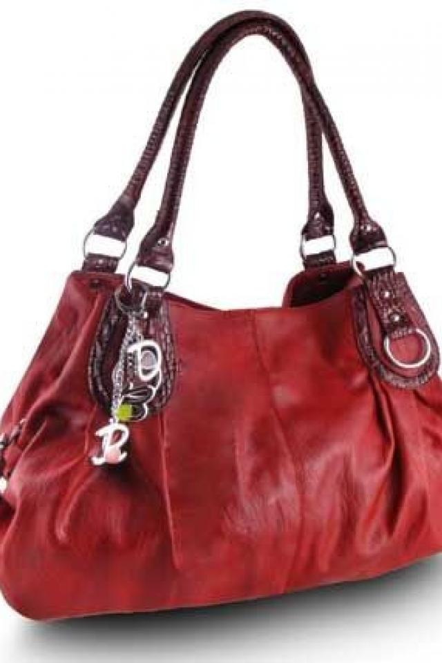 Red Satchel Purse with Charms Free Ship Photo