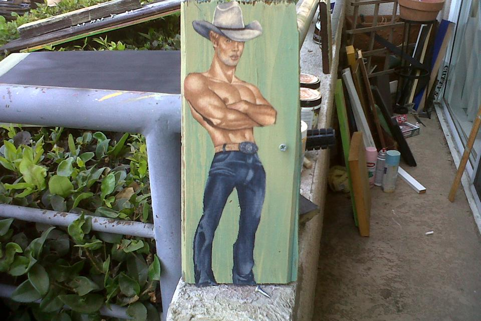 Wood cowboy key holder Large Photo