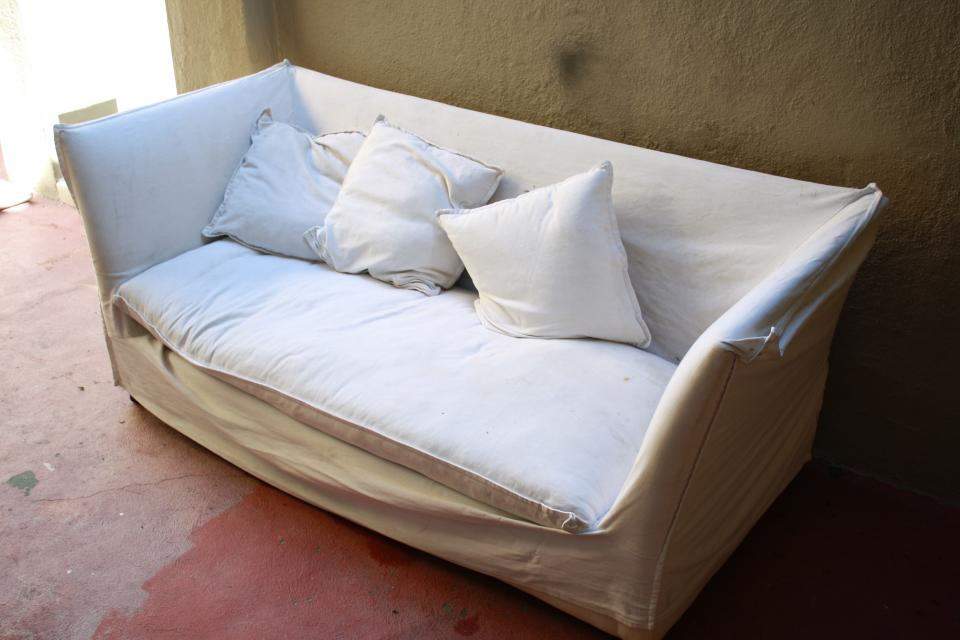 Extra High Back White Twill Couch. Slipcovered so easy to wash Large Photo