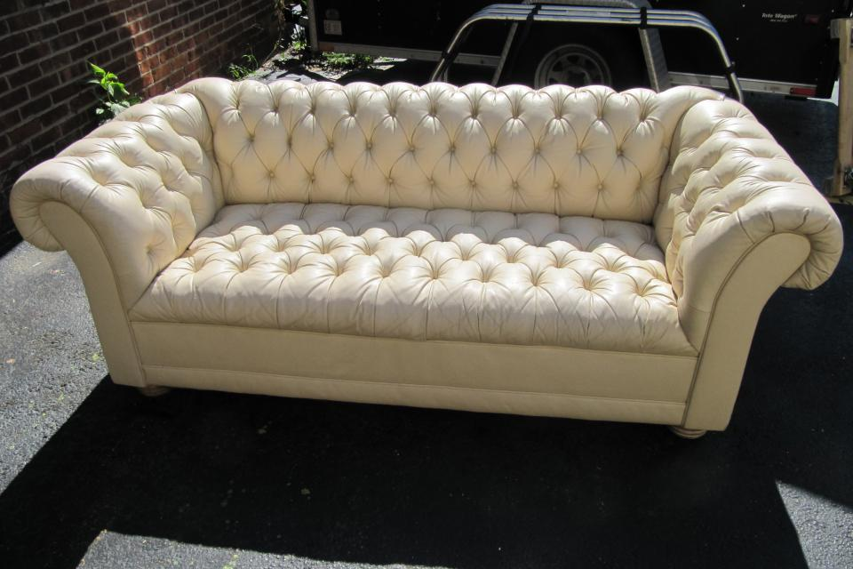 Leather chesterfield style sofa Large Photo