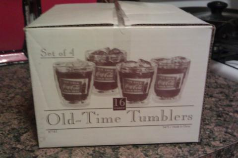 Set of 4 COCA COLA 16oz OLD TIME TUMBLERS in ORIGINAL BOX Photo