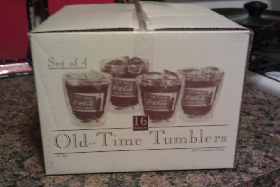 Set of 4 COCA COLA 16oz OLD TIME TUMBLERS in ORIGINAL BOX Large Photo