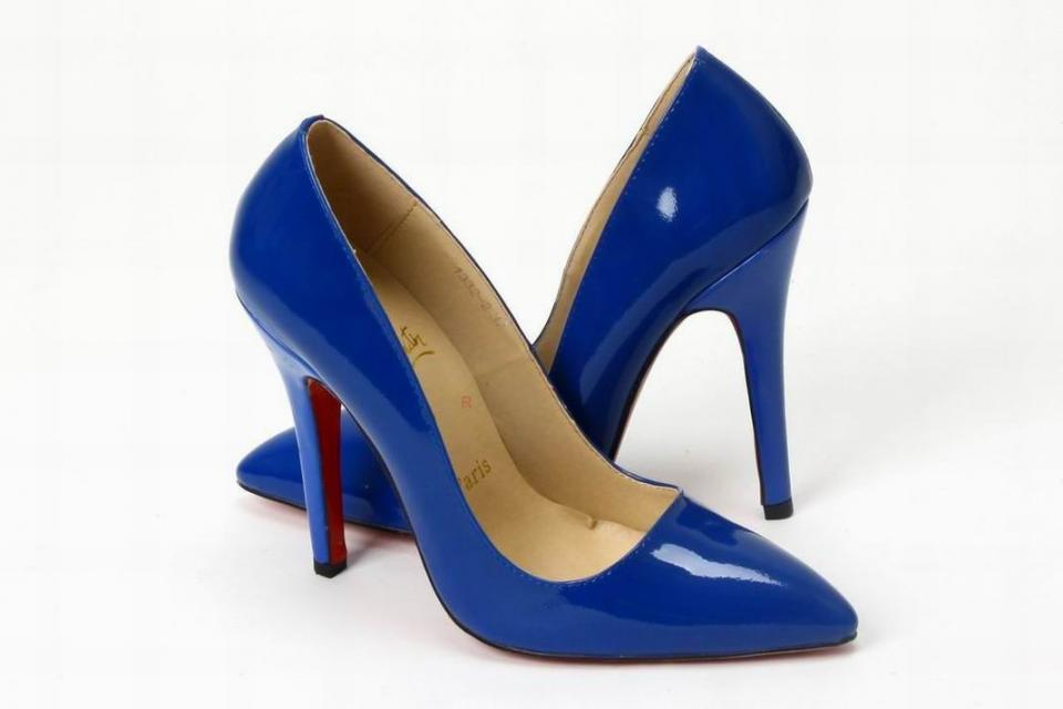 christian louboutins blue classic stilettos  Large Photo