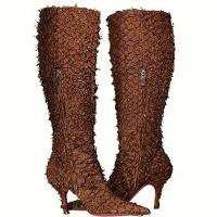 Terry Biviano - Frayed Leather Tall Boots - Brown - Size 6 M  Photo