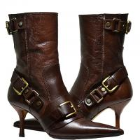 Dolce & Gabbana - Leather Pointy Toe Boots - Brown - Size 6.5 M Photo