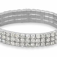 Triple Row Crystal Stretch Fashion Bracelet with FREE SHIPPING! Photo