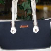 ♥♥♥ KATE SPADE♥♥♥ NAUTICAL STYLE CANVAS LEATHER TOTE/SHOULDER BAG, IN STYLE! Photo