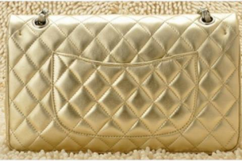 New Light Gold Sheepskin chanel Flap Bag with silver hardware and chain straps purse clutch handbag Photo