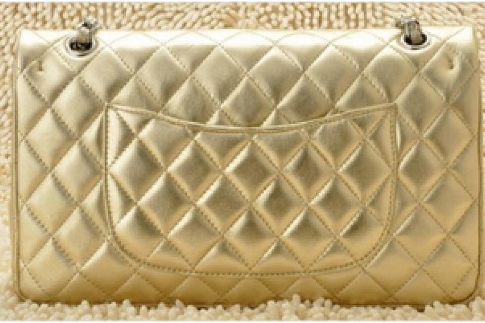 New Light Gold Sheepskin chanel Flap Bag with silver hardware and chain straps purse clutch handbag Large Photo