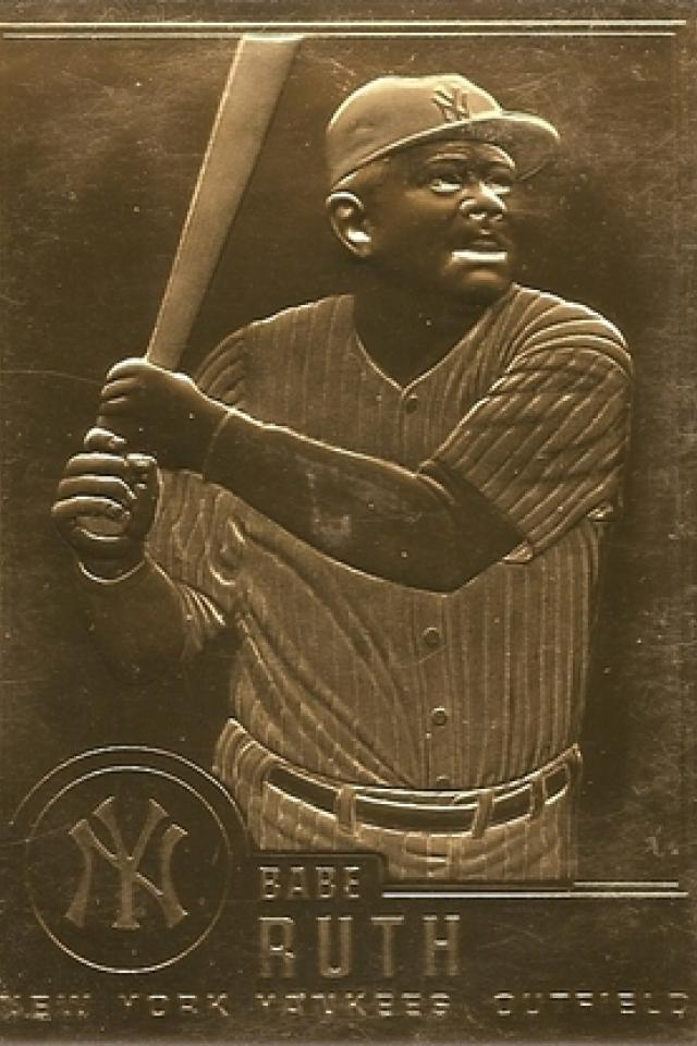 24K Gold Plated Babe Ruth Card Photo