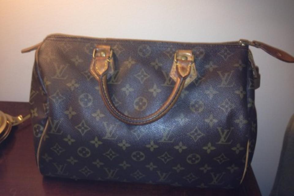 100% Authentic Louis Vuitton Brown Monogram Speedy 30 Handbag Large Photo