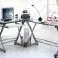 3 Piece Glass Computer Desk Study Work Office Home Table  Photo