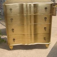HERE IS A GREAT 4 DRAWER DRESSER RICH GOLD Photo
