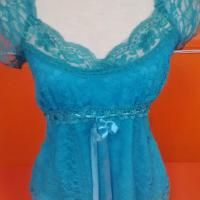sky blue lace nighty Photo