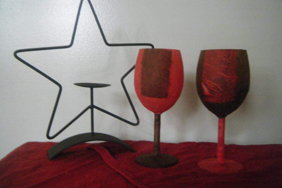 Wine glass candle holders Large Photo