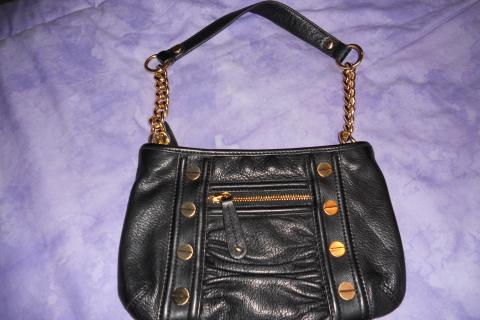 NEW W/ TAGS: B. MAKOWSKY BLACK LEATHER HANDBAG W/ GOLD ACCENTS Photo