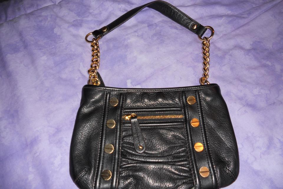 NEW W/ TAGS: B. MAKOWSKY BLACK LEATHER HANDBAG W/ GOLD ACCENTS Large Photo