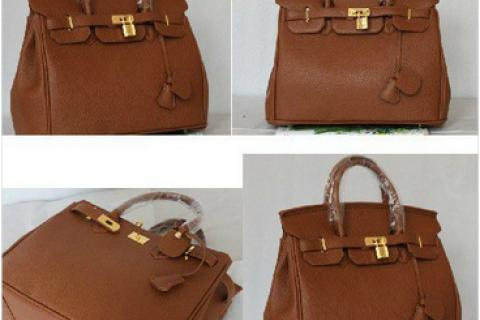 Brown Hermes Birkin 35 with Gold/Silver hardware lock and key kelly purse hand bag tote Photo