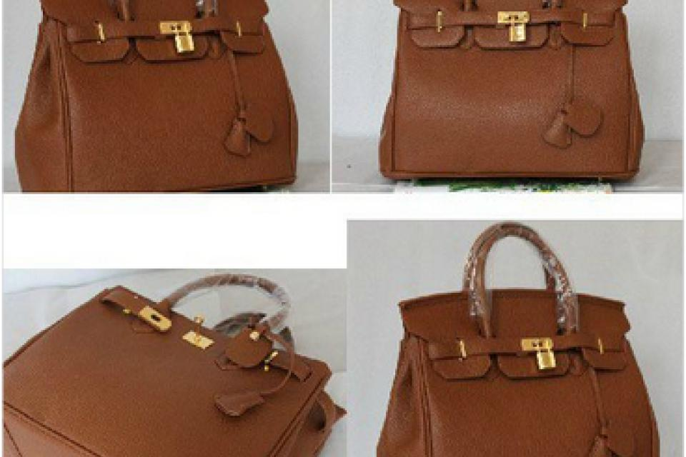Brown Hermes Birkin 35 with Gold/Silver hardware lock and key kelly purse hand bag tote Large Photo