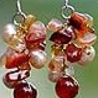 Pearl and Carnelian Cluster 'Happiness' Earrings - new.  Made in Thailand Photo