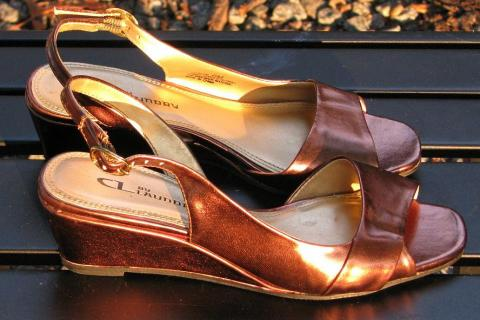 ♥♥♥ CL BY LAUNDRY♥♥♥BRONZE WEDGE SANDAL, EXCELLENT 6M! Photo