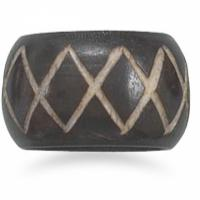 "Genuine Buffalo Horn Ring with ""X"" Design Band Photo"