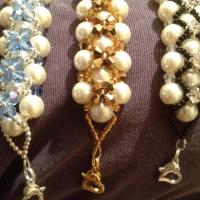 Pearls Glass Bracelet With Swarovski Bicone. Photo