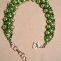 Pearls Glass Bracelet With Swarovski Bicone green  Photo