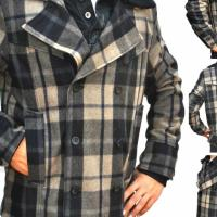 GUESS Mens Jacket- Wool Blend Plaid Pea Coat Black,Tan,Grey~Coat Retail- $199 Size SMALL Photo