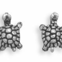 Tiny Turtle Sterling Silver Stud Earrings Photo